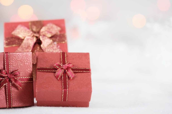 Three red gift boxes