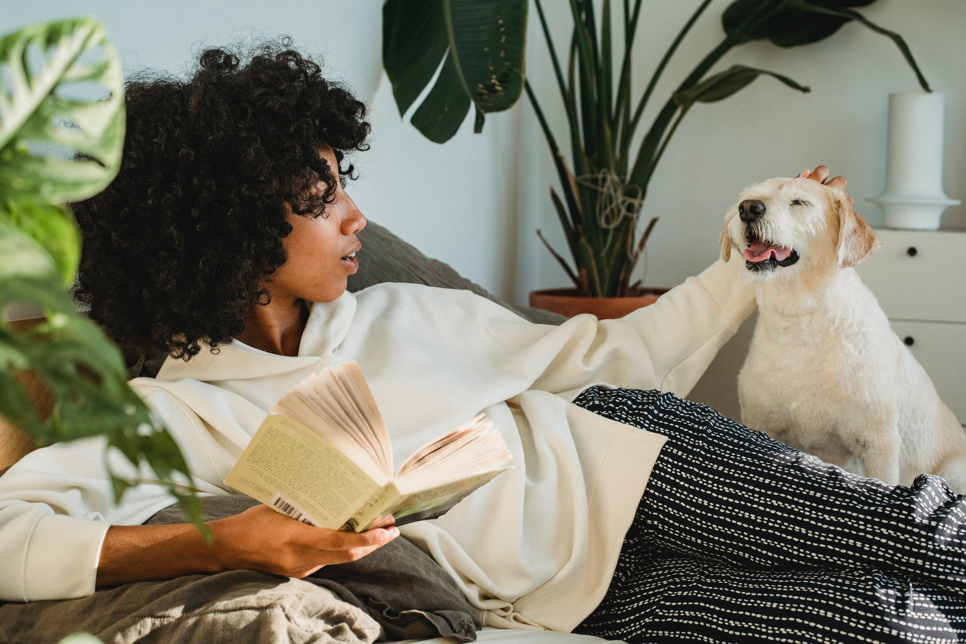 Woman reading a book while petting her dog. Come and read with Robecca Austin